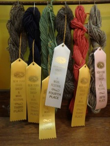 This year's hand spun yarn ribbons!